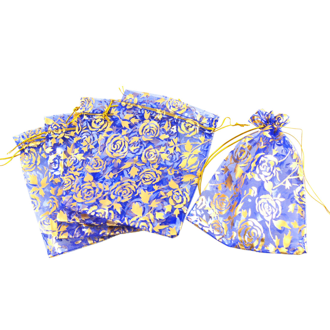 5 Pcs Gold Tone Flower Pattern Blue Organza Wedding Candy Gift Bag Pouch