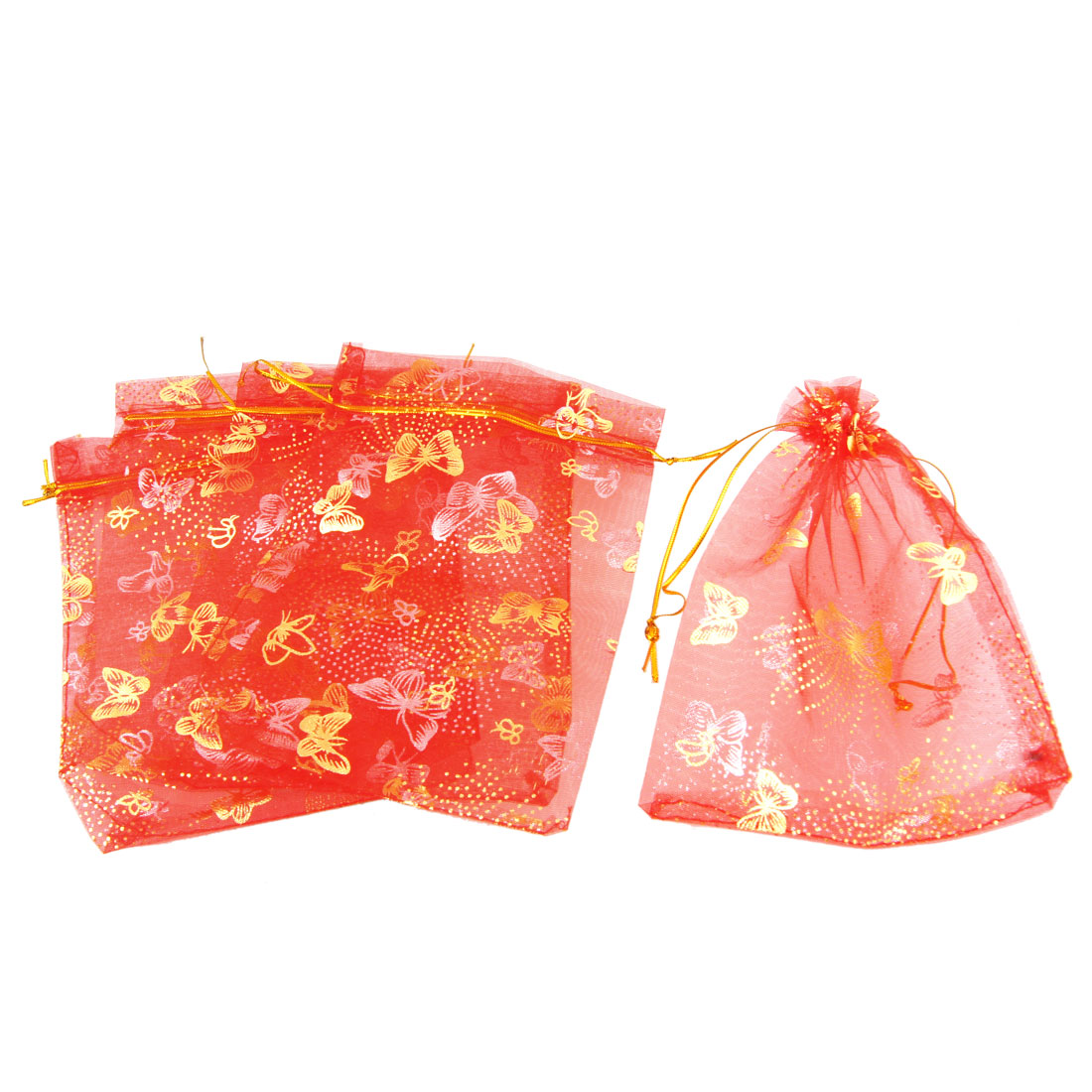 5 Pcs Red Organza Dot Butterfly Pattern Wedding Party Gift Pouch Bag