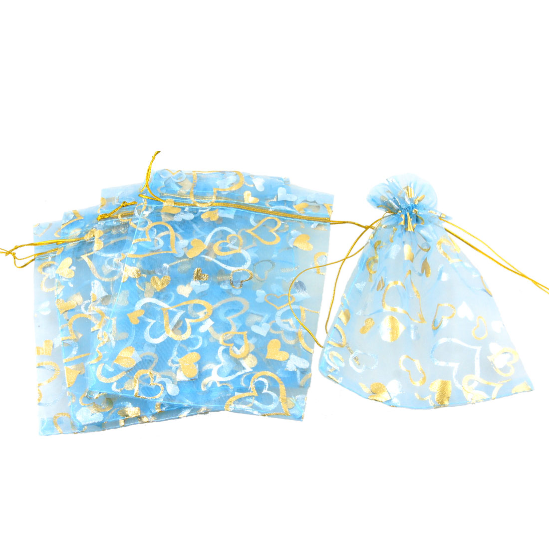 5 Pcs Gold Tone Heart Pattern Sky Blue Organza Wedding Candy Gift Bag Pouch