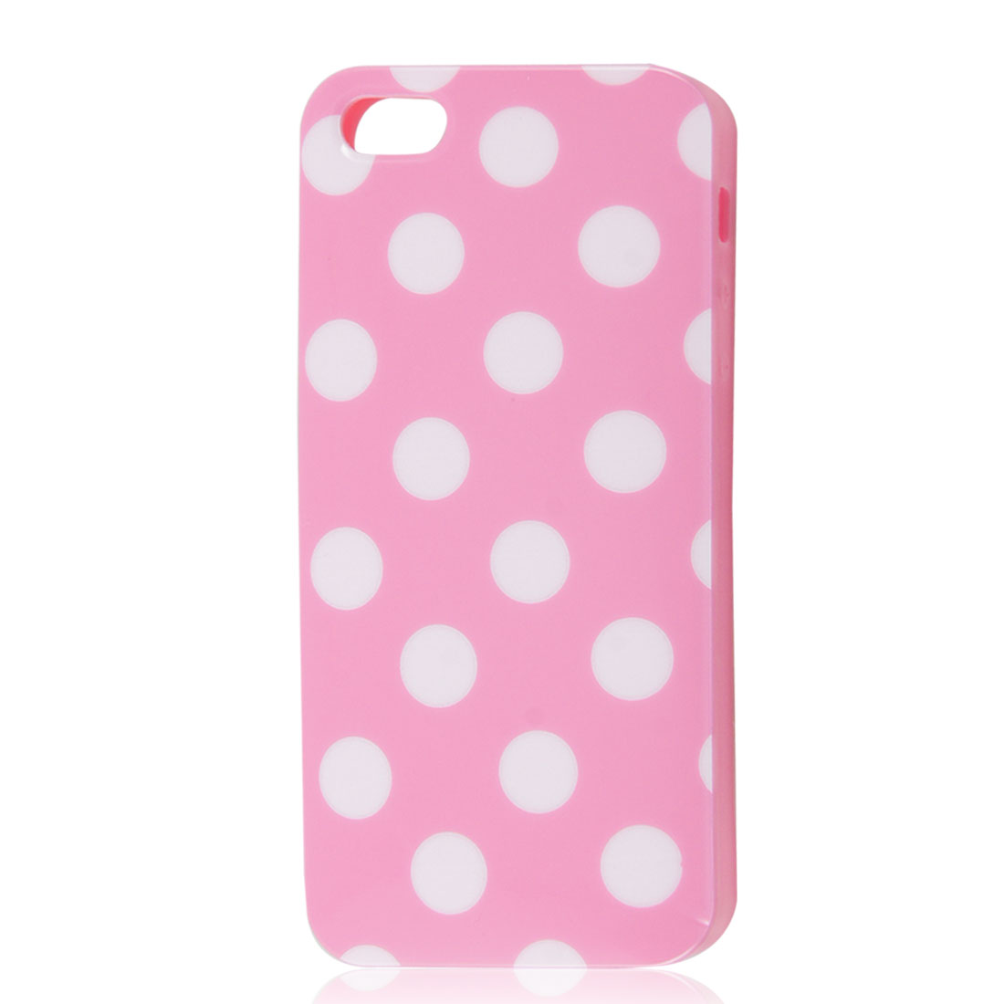 White Polka Dots Pink Soft Plastic Case Cover for Apple iPhone 5 5G