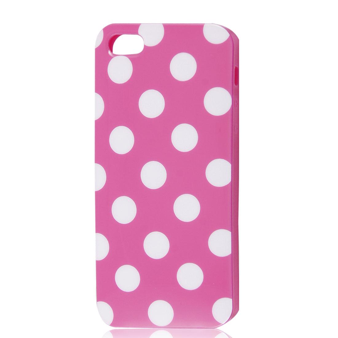 White Polka Dots Fuchsia Soft Plastic Case Cover for Apple iPhone 5 5G
