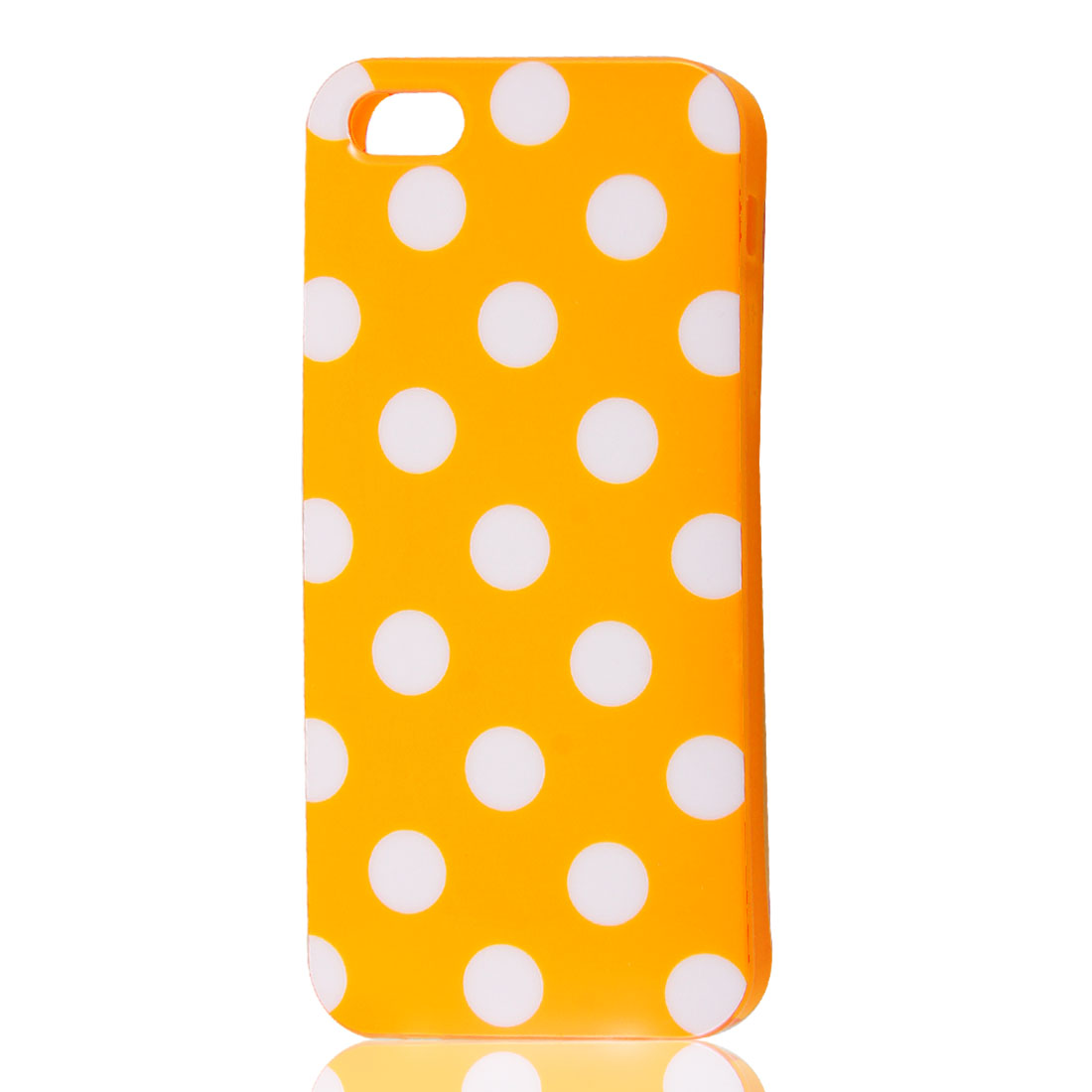 White Polka Dots Orange Soft Plastic Case Cover for Apple iPhone 5 5G