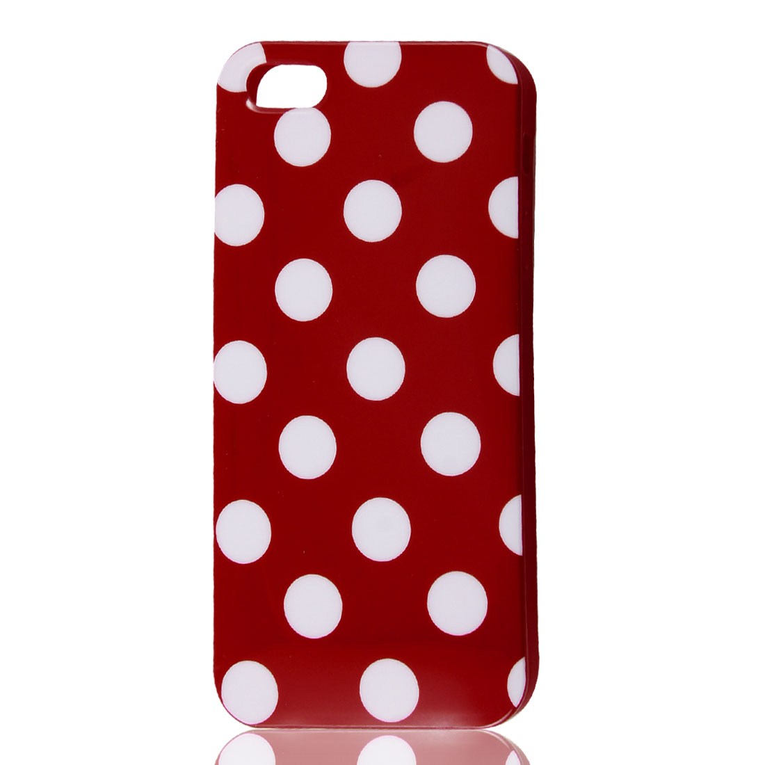 White Polka Dots Red Soft Plastic Case Cover for Apple iPhone 5 5G