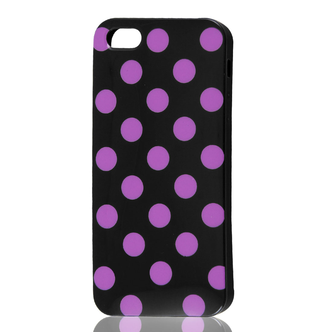 Purple Polka Dots Black Soft Plastic Case Cover for Apple iPhone 5 5G