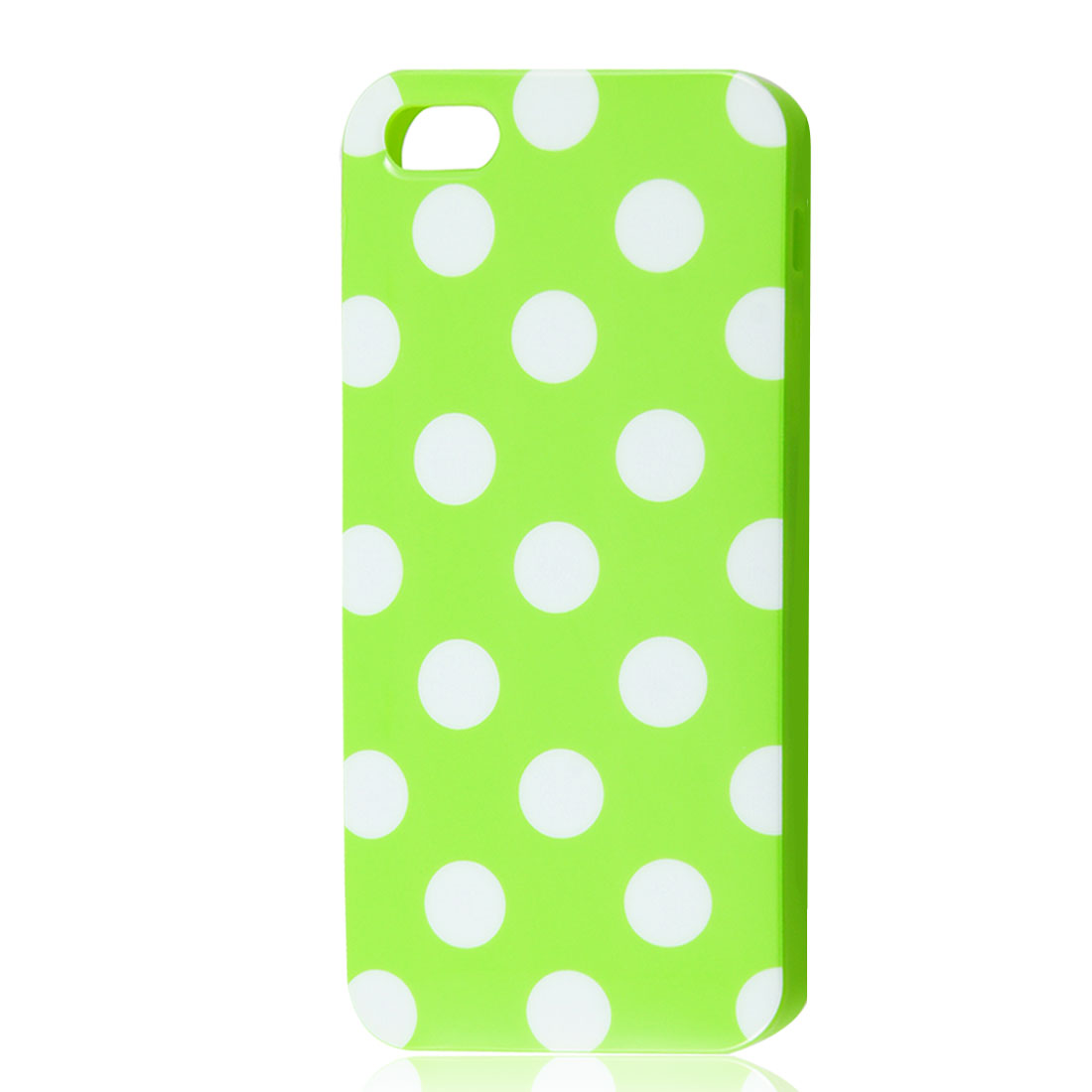 White Polka Dots Green Soft Plastic Case Cover for Apple iPhone 5 5G