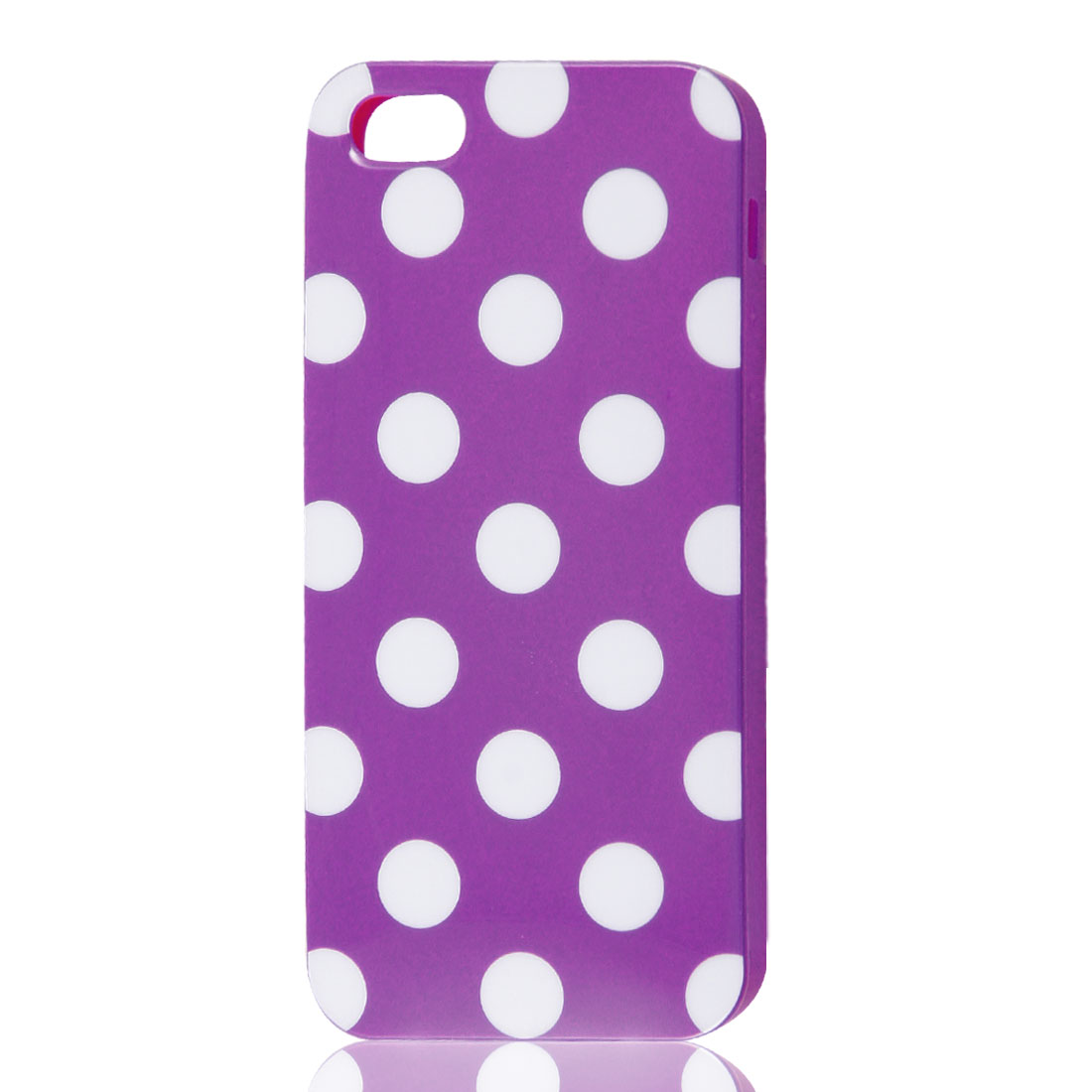 White Polka Dots Purple Soft Plastic Case Cover for Apple iPhone 5 5G