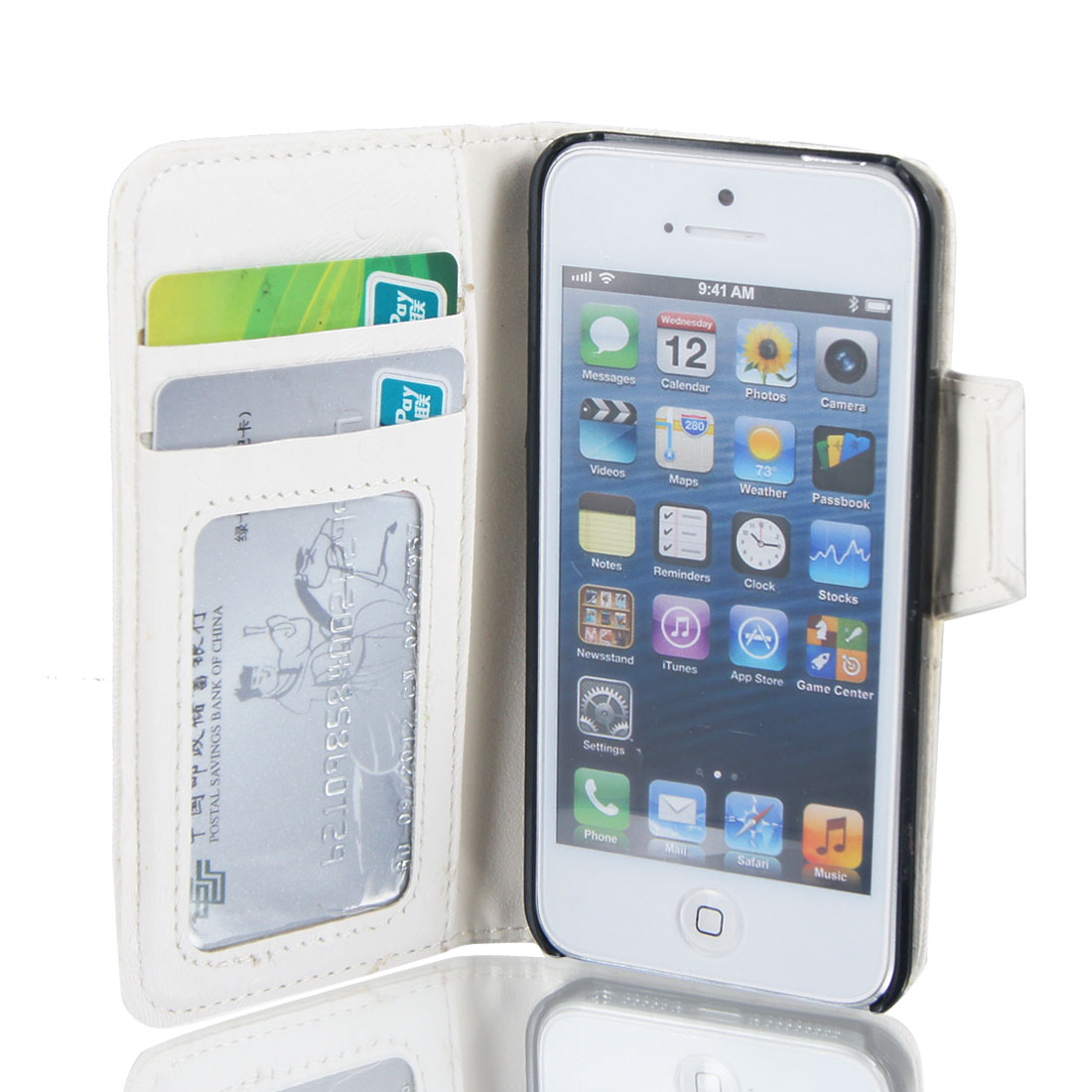 Dot Pattern White Faux Leather Flip Case Cover Pouch Wallet for iPhone 5 5G