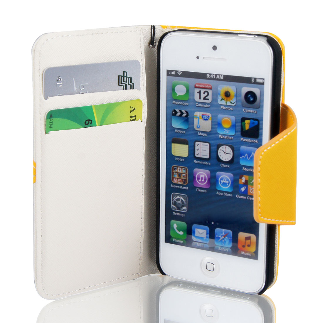 Magnetic Flip Yellow Faux Leather Case Cover Pouch Wallet for iPhone 5 5G