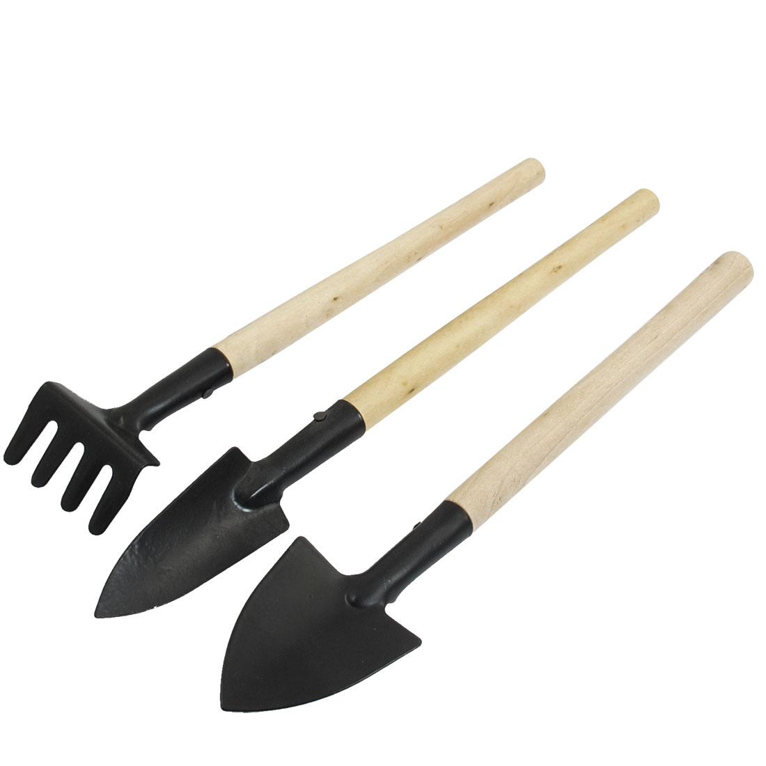 Beige Woode Handle Black Trowel Rake Shovel Garden Tools Set