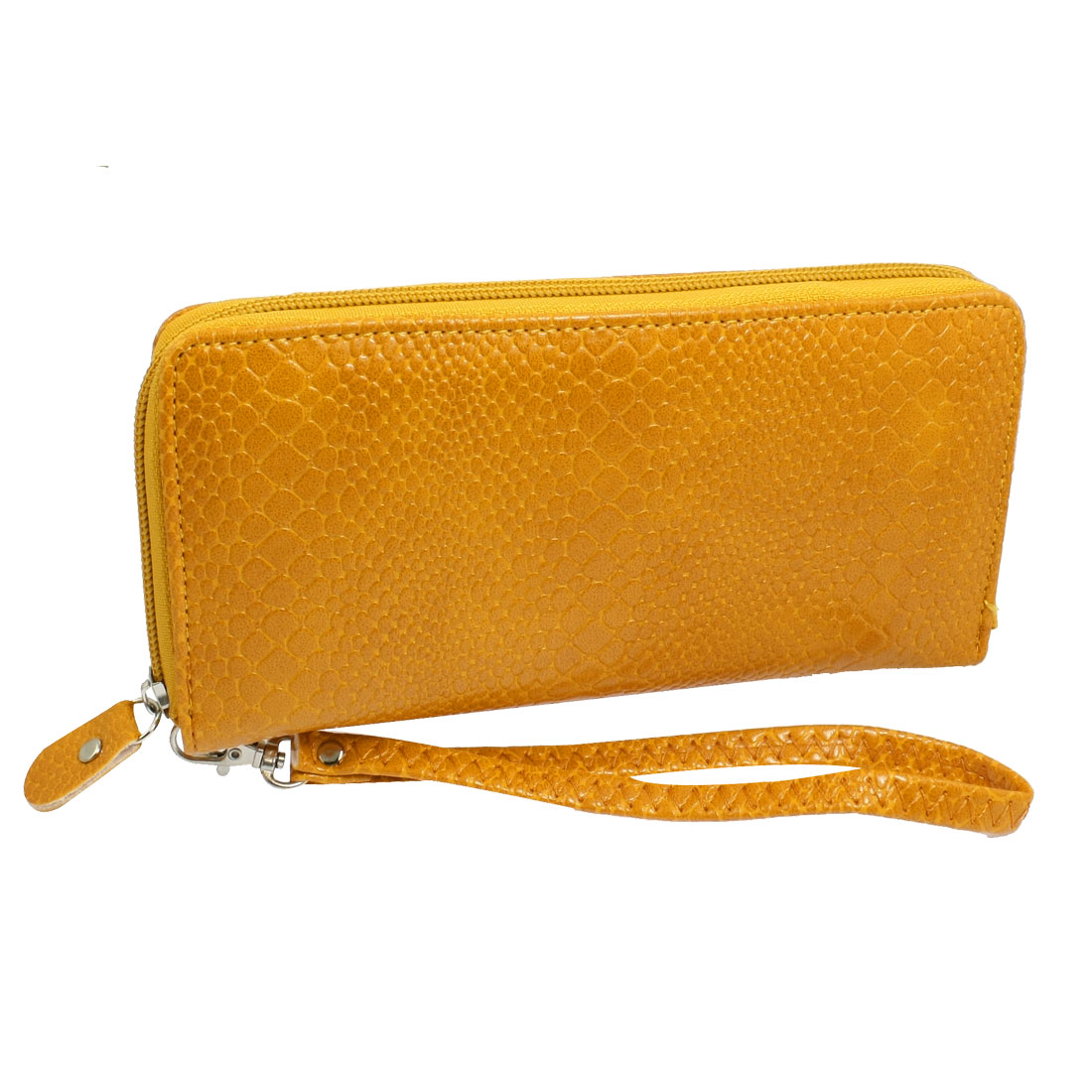Ladies Snake Pattern Faux Leather Zipper Closure Purse Handbag Yellow