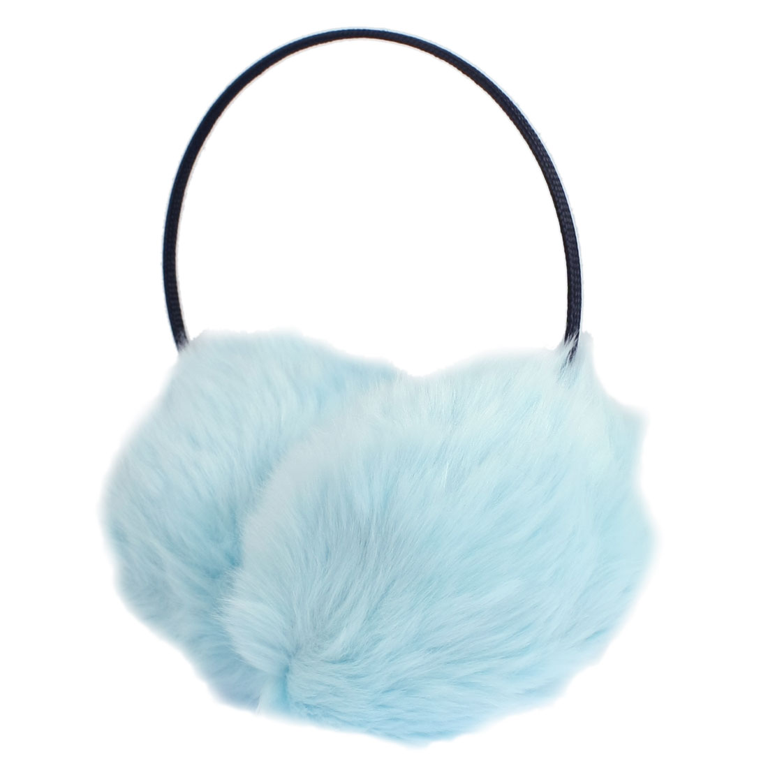 Lady Black Light Blue Winter Bow Frame Headwear Earmuffs Ear Covers