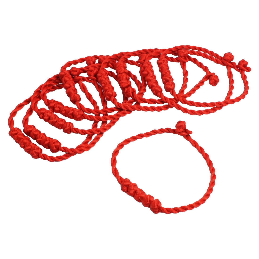Knot Decor Red String Twisted Bracelet Bangle 10 Pcs for Girls