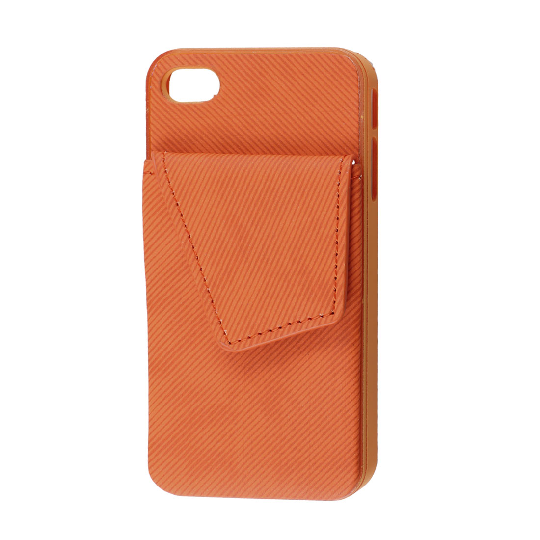 Orange Red Faux Leather Plastic Rim Credit Card Back Case Pouch for iPhone 4G