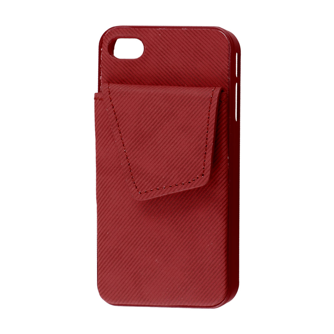 Red Faux Leather Plastic Rim Credit Card Back Case Pouch for iPhone 4G