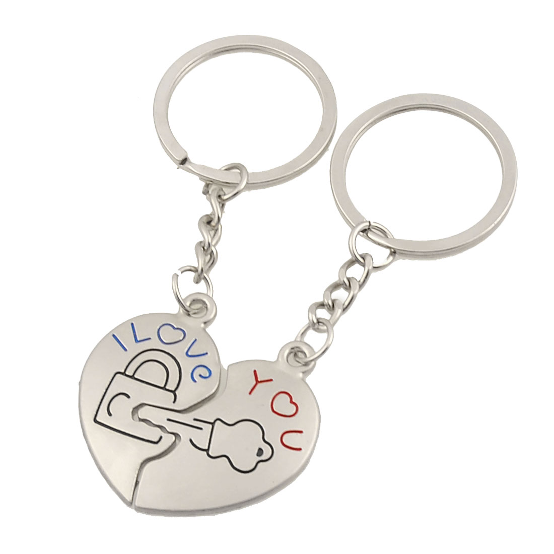 Lovers Metal Lock Key Dangling Letters Print Pendant Split Ring Keychain Silver Tone Pair