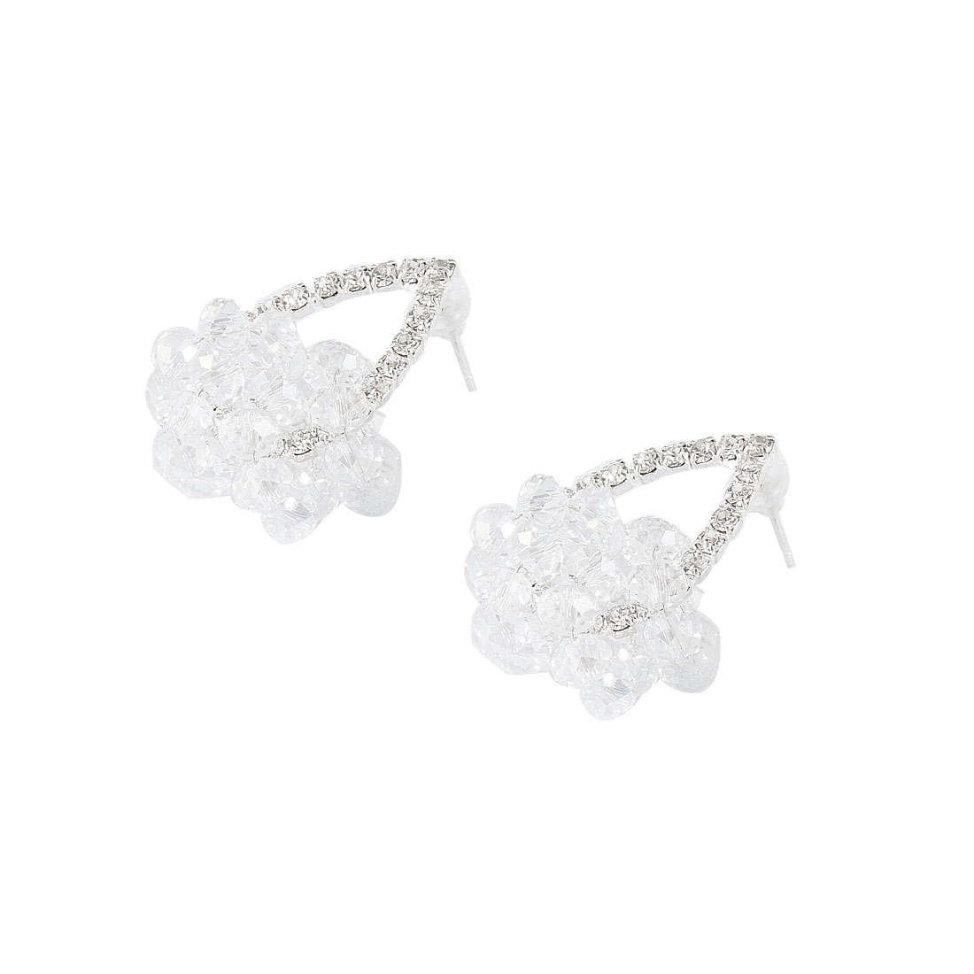 Lady Clear Crystal Decor Rhinestone Water Drop Earbob Stud Earrings Ear Pin Pair