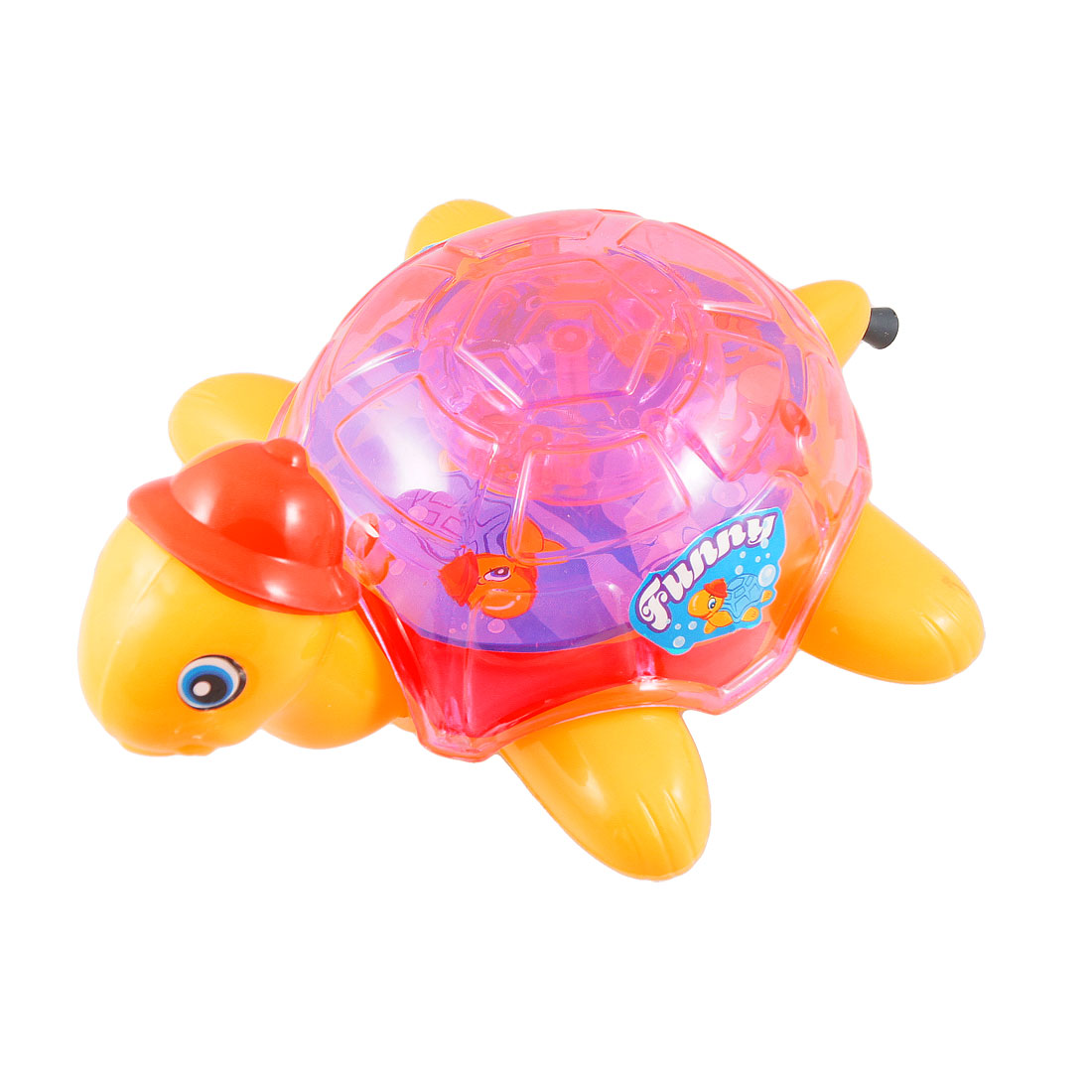 Yellow Pink Plastic Pull String Flashing Turtle Shape Play Toy for Children