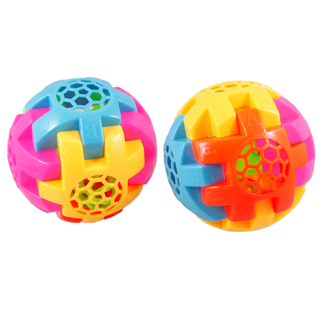 2 Pcs Words Embossed Assorted Color Plastic Hollow Block Ball Bell Puzzle Toy