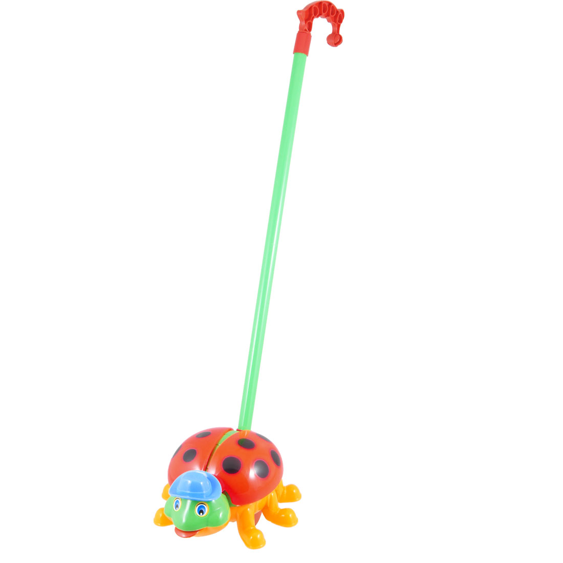 Kids Playing Green Handle Multicolor Plastic Push Along Ring Lady Bug Toy