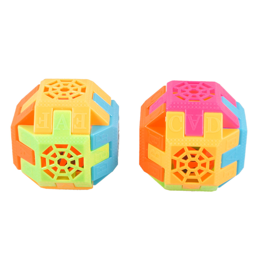2 Pcs Multicolor Plastic Block Assembly Tinkle Bell Puzzle Ball Toy for Kids