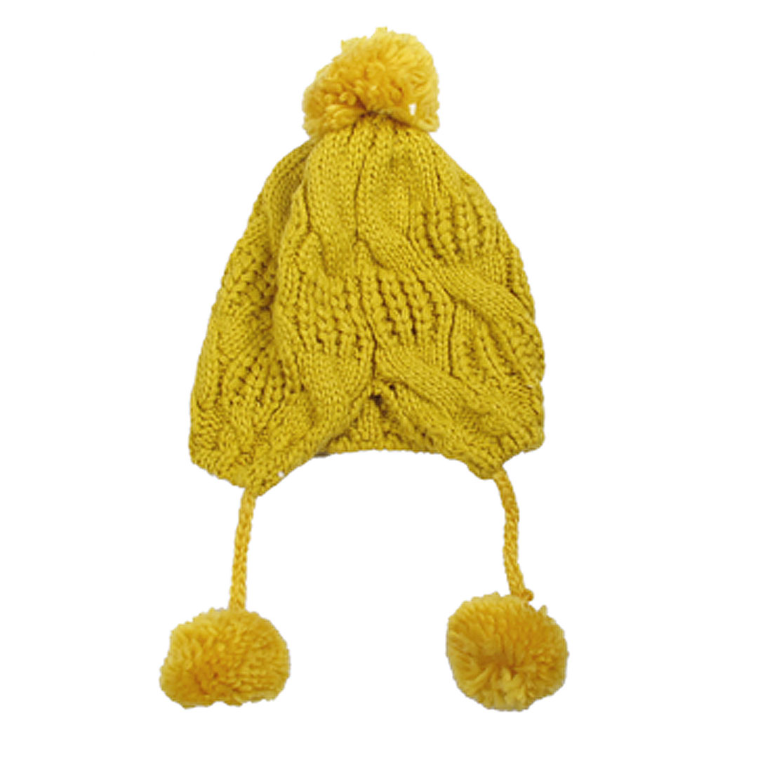 Ladies Yellow Ribbed Printed Winter Warmer Knitting Hat Beanie