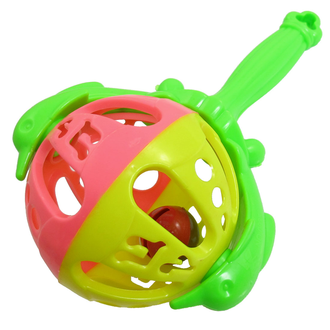 Shaking Jingle Handbell Green Plastic Dolphin Design Toddler Baby Toy