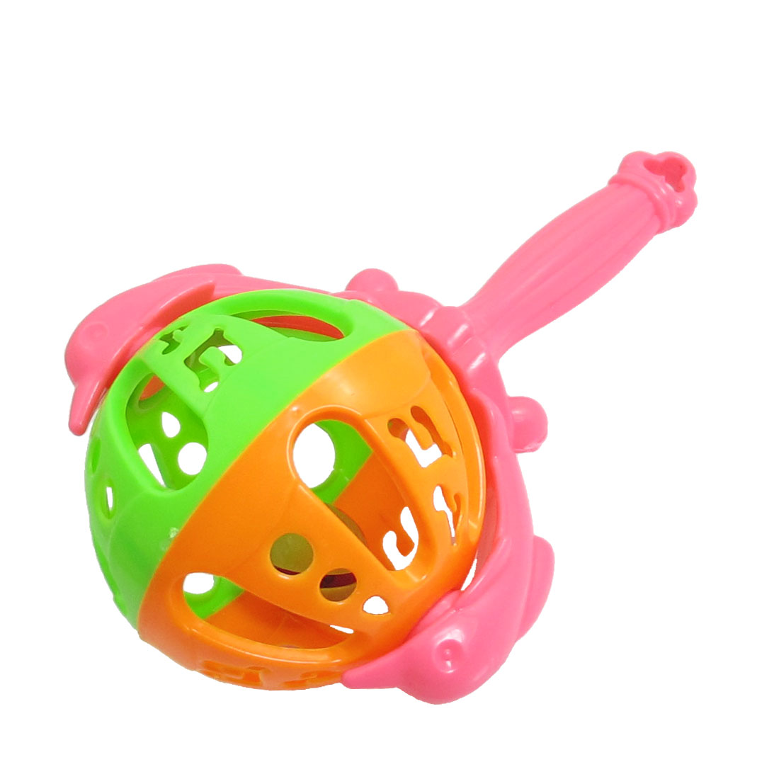 Plastic Pink Handle Shaking Jingle Handbell Toddler Baby Toy