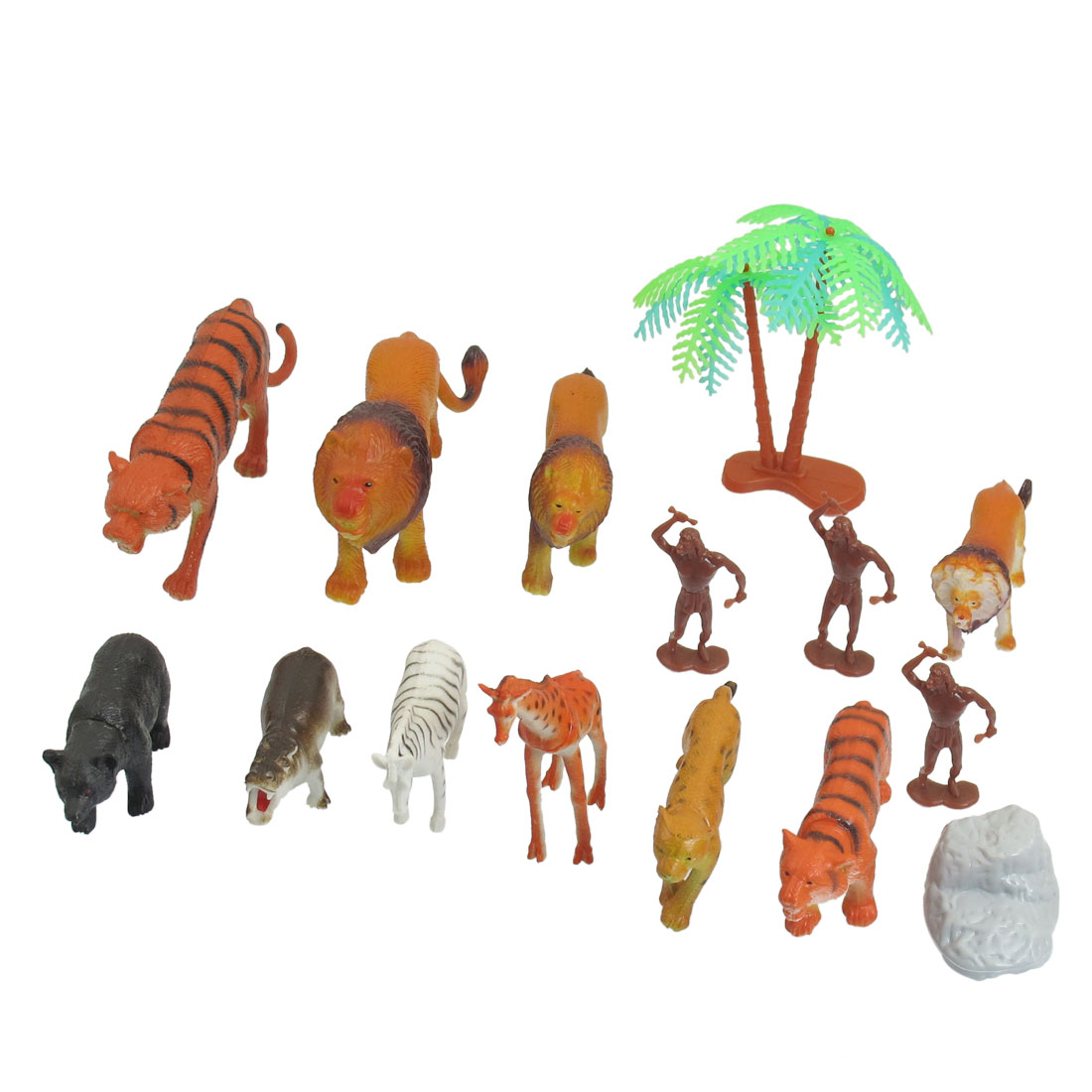15 in 1 Vividly Plastic Lion Tiger Giraffe Leopard Hippo Toy