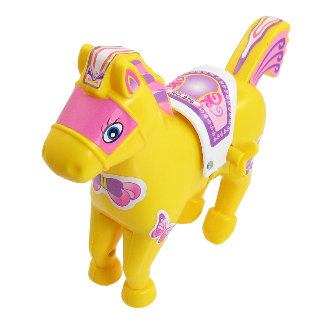 Children Yellow Plastic Cartoon Running Horse Wind up Toy