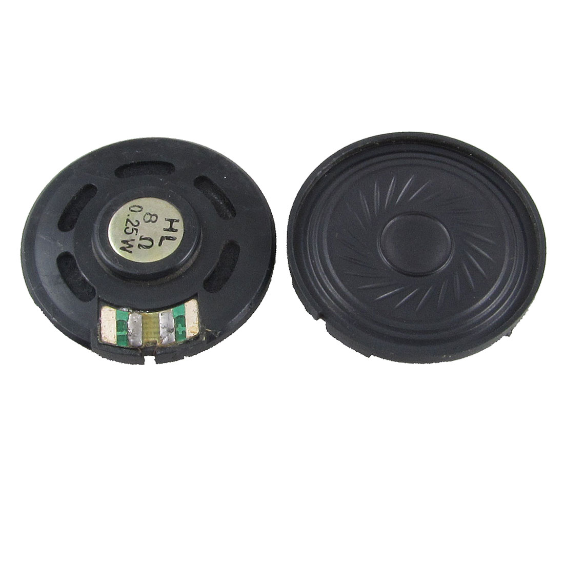 2 Pcs 40mm Diameter Black Round Magnet Plastic Loud Speaker Horn 8 Ohm 0.25W