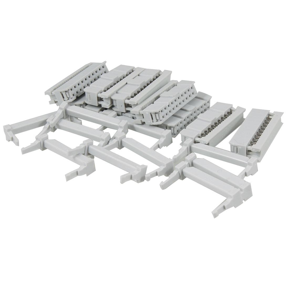 10 Pcs Flat Ribbon Cable 2 Row 20 Pin IDC Socket Connector Light Gray