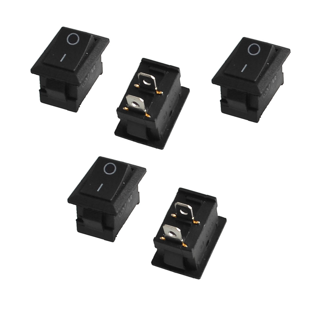5 Pcs AC 250V/6A 125V/10A Black Plastic ON OFF SPST Rocker Switches