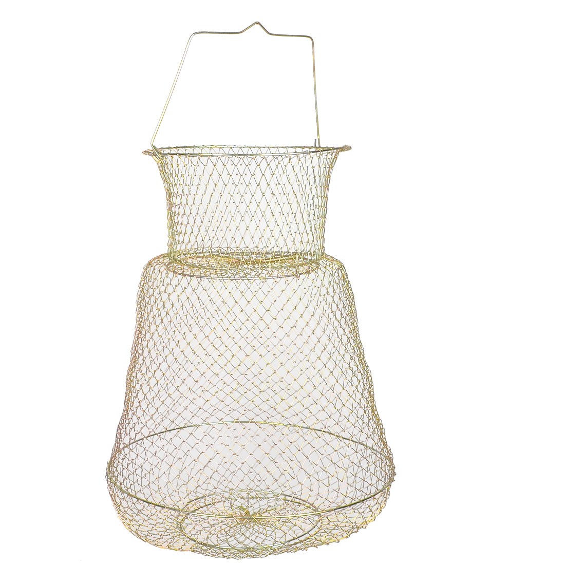 Gold Tone Folding Spring Design 3 Layers Metal Fishing Keep Net Cage 46cm High