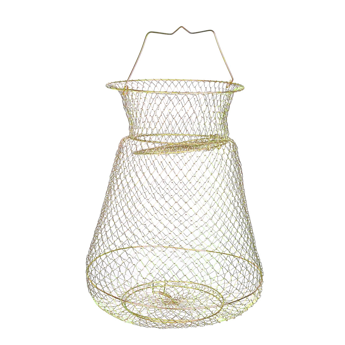 Gold Tone Foldable Spring Design 3 Layers Metal Fishing Keep Net Cage 15.7""