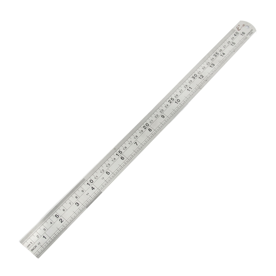 "40cm/16"" Measuring Range 2 Side Steel Straight Ruler Silver Tone Black"