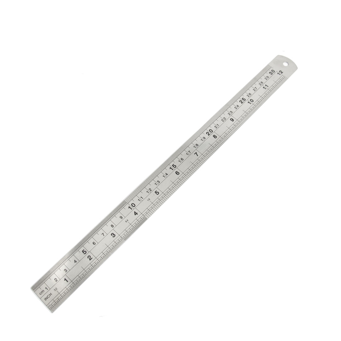 Students 30cm 12 Inch Dual Side Stainless Steel Metrication Straight Ruler