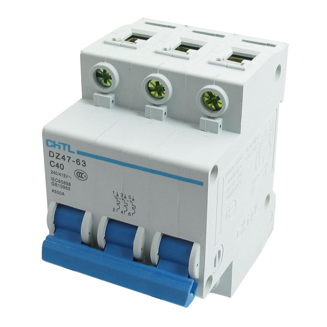 DZ47-63 C40 40A 240/415VAC 4500A Breaking Capacity 3 Poles Circuit Breaker