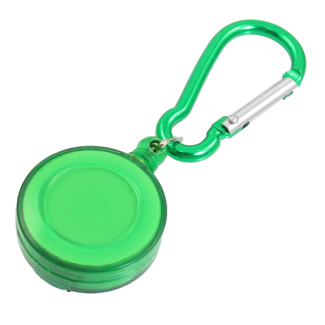 Hiking Green Spring Loaded Closure Carabiner Retractable Round Badge Reel
