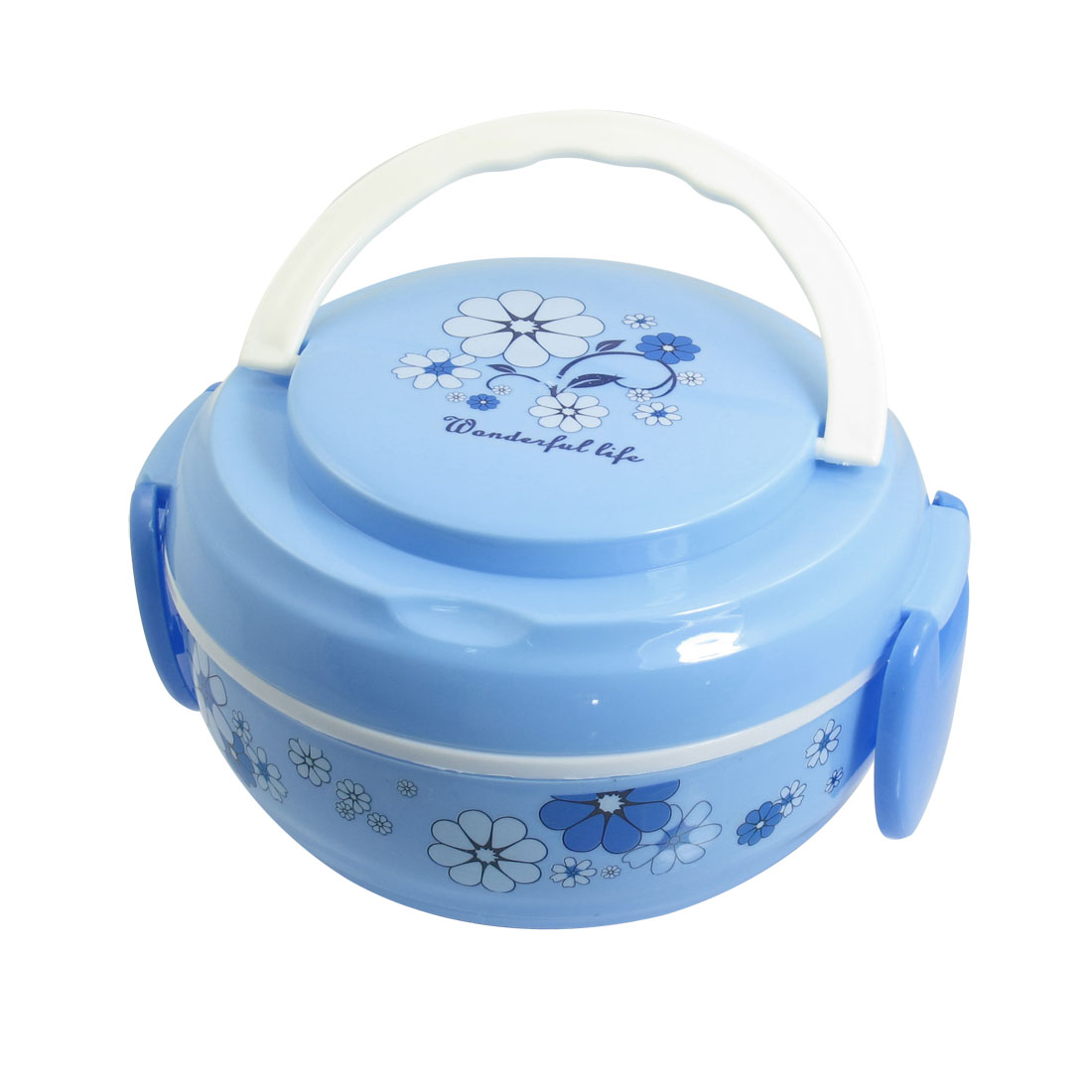 Round Dual Layers White Blue Floral Plastic Handhold Lunch Box w Spoon