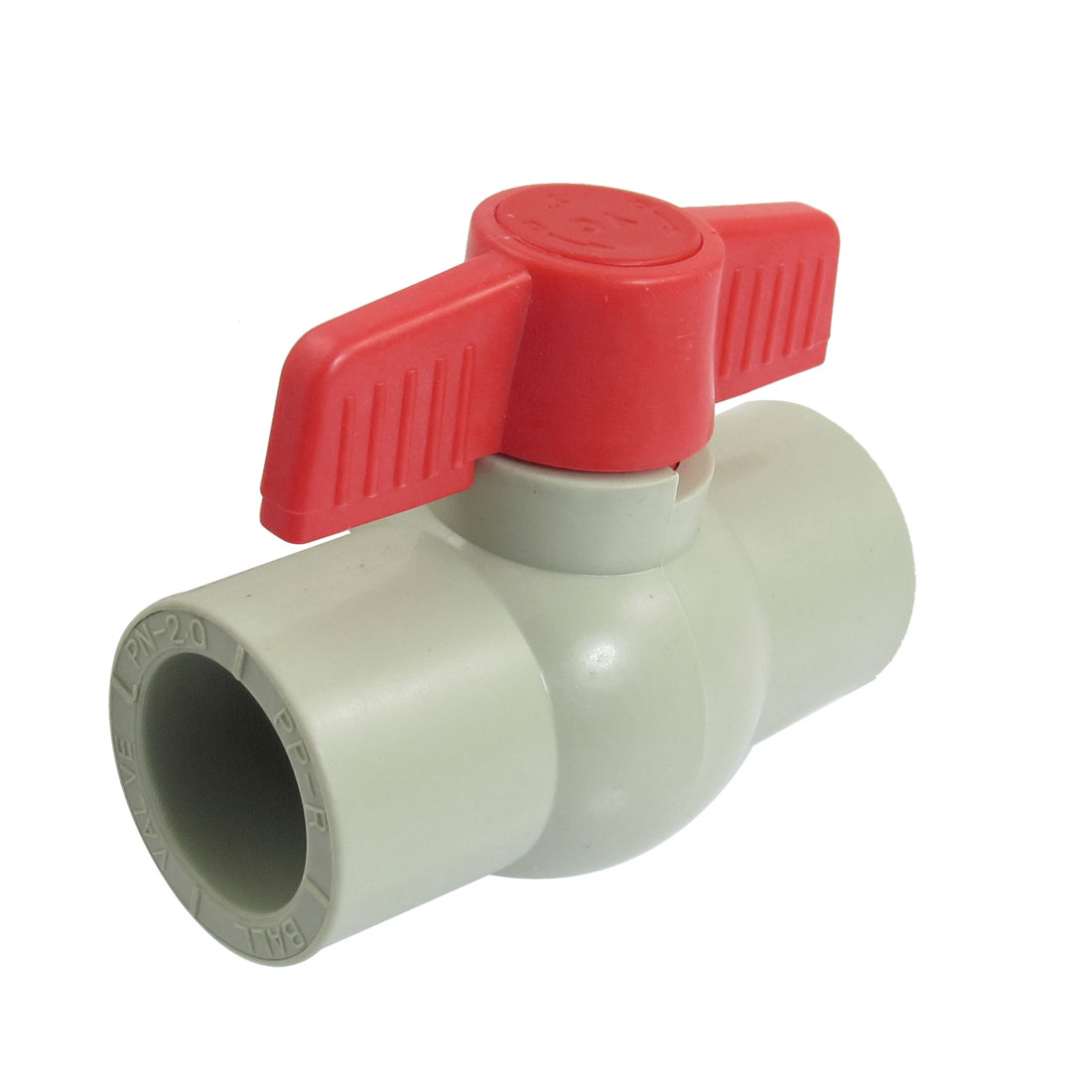 31mm x 31mm Slip Red T Knob Plumbing PPR Ball Valve Gray