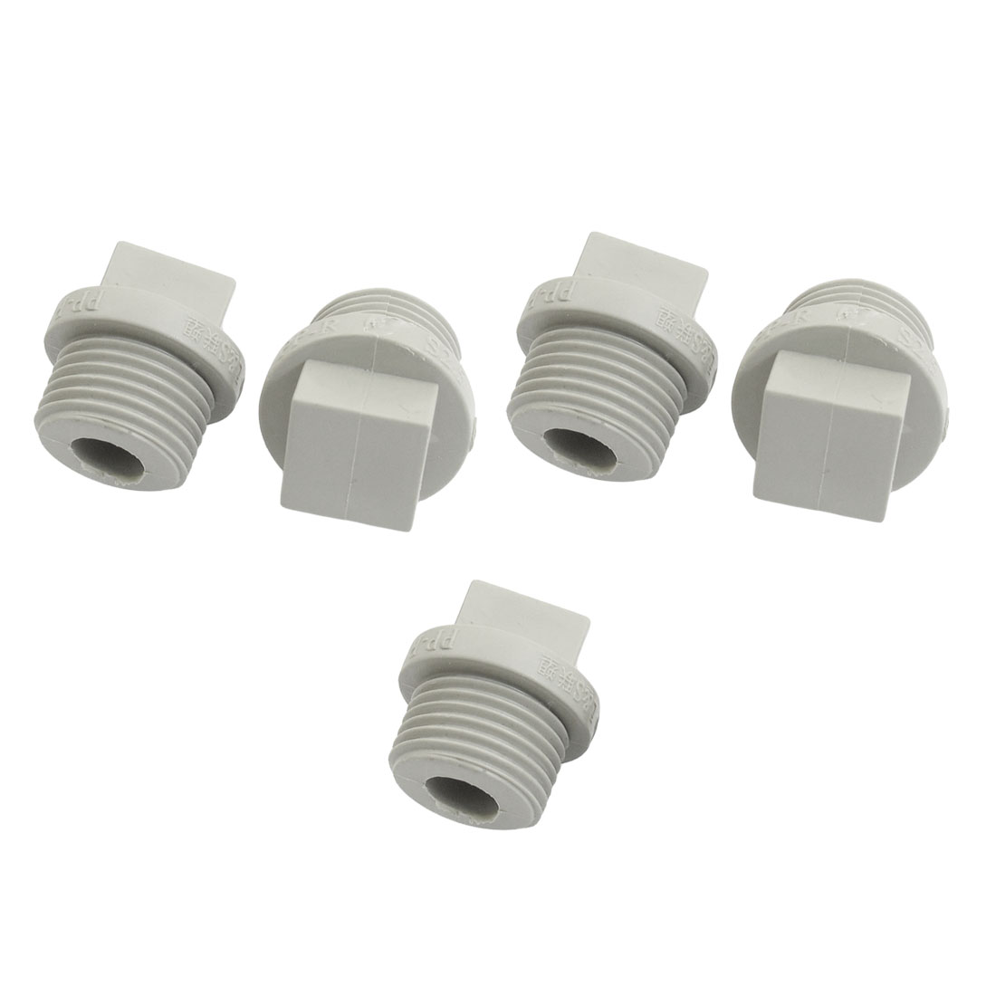 5 Pcs 21mm Male Thread Gray PPR Pipe End Caps Plug
