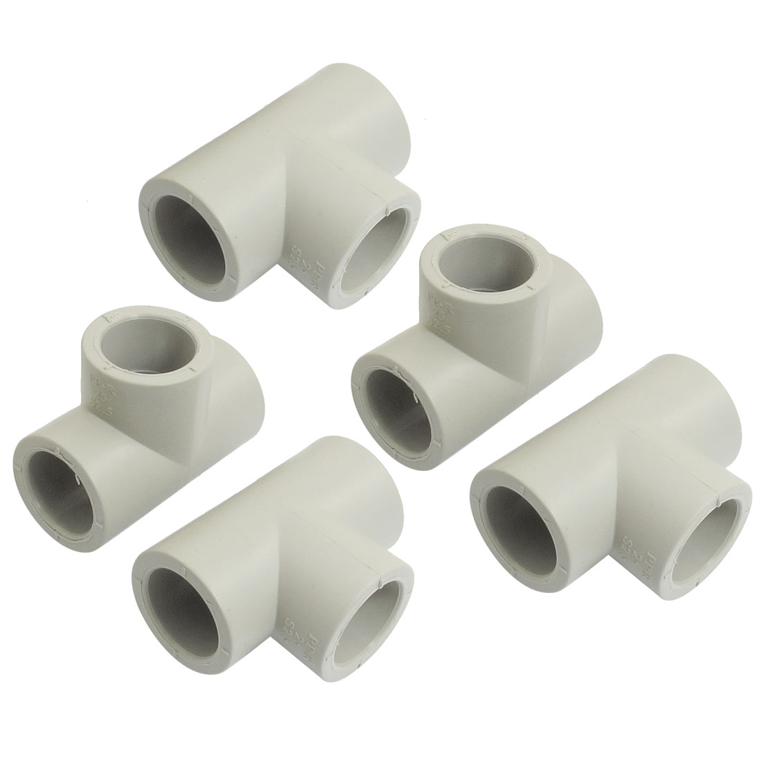 5 Pcs 25mm Hole 3 Ways PPR Pipe Tee Shaped Connectors Fittings