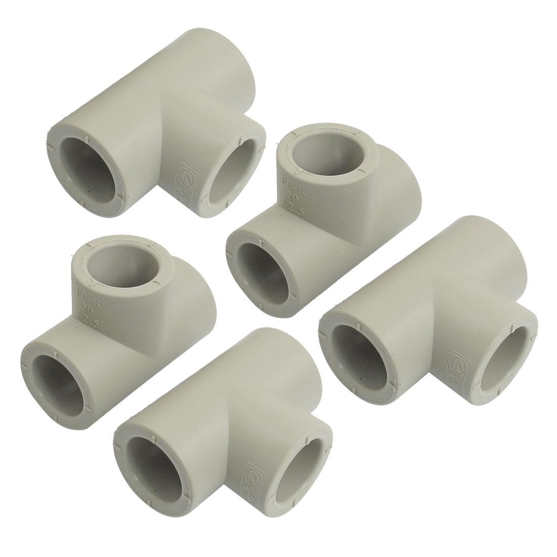 5 Pcs 20mm Inner Dia 3 Ways Tee Shaped PPR Pipe Connectors Fittings