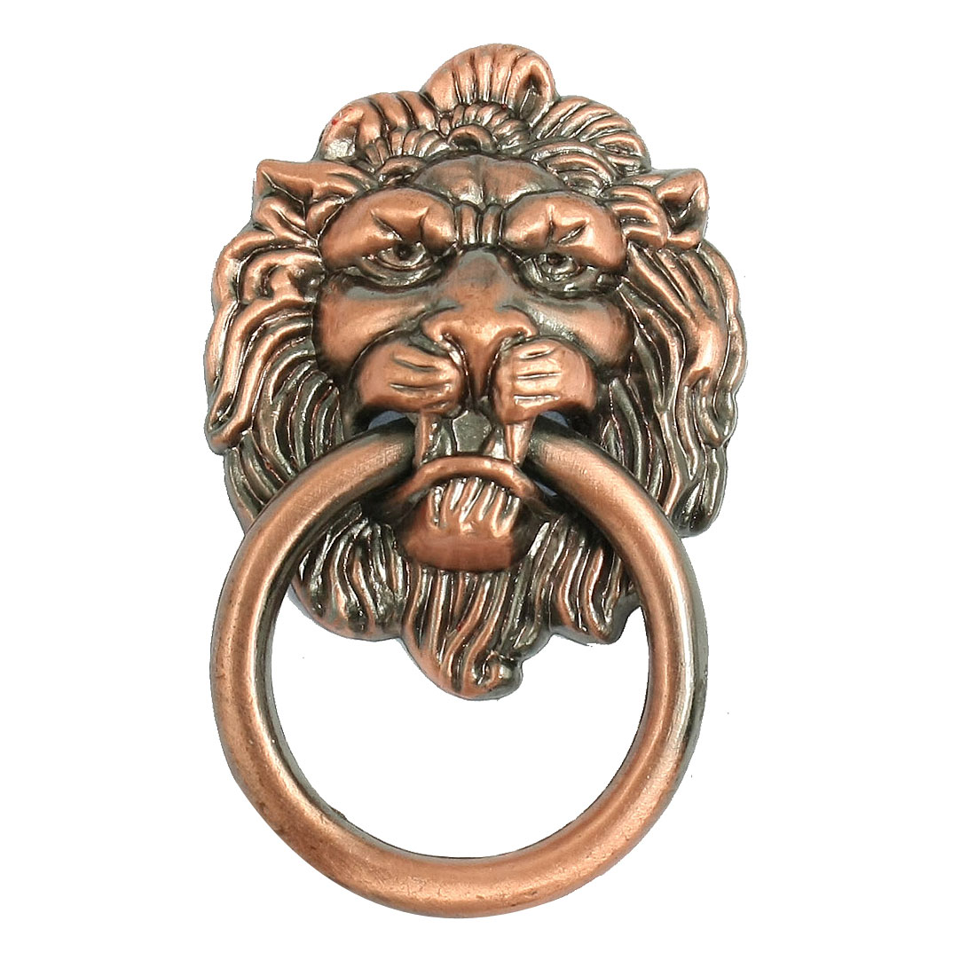 Antique Style Copper Tone Metal Lion Head Shaped Drawer Pull Handle 2.5""
