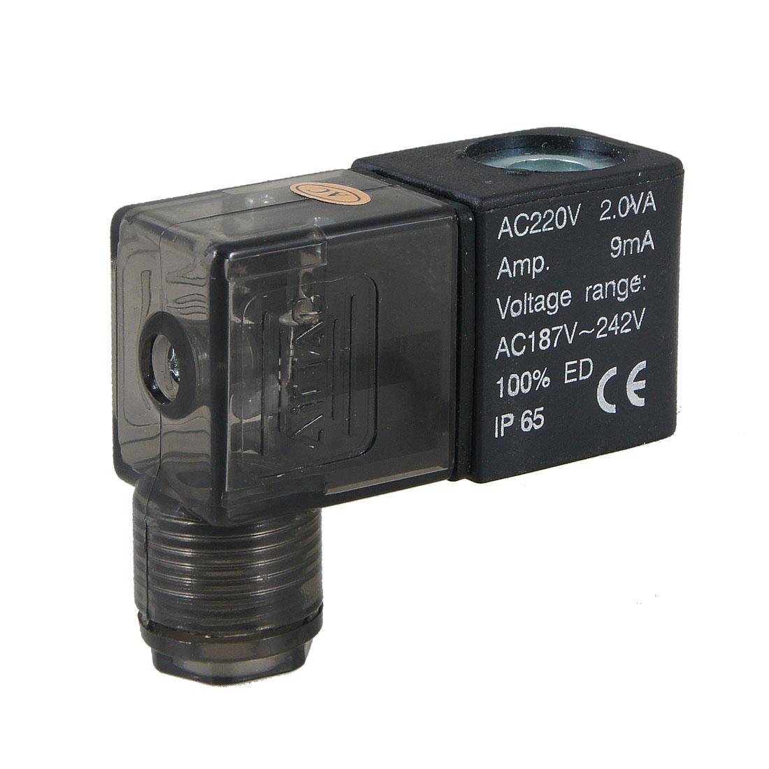 Black Plastic Shell AC 220V 2.0VA Pneumatic Control Solenoid Valve Coil