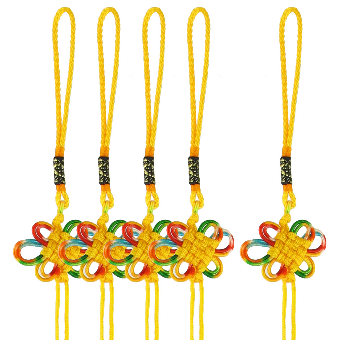 Handmade Yellow Braided Cord Colorful Floral Chinese Knot Ornament