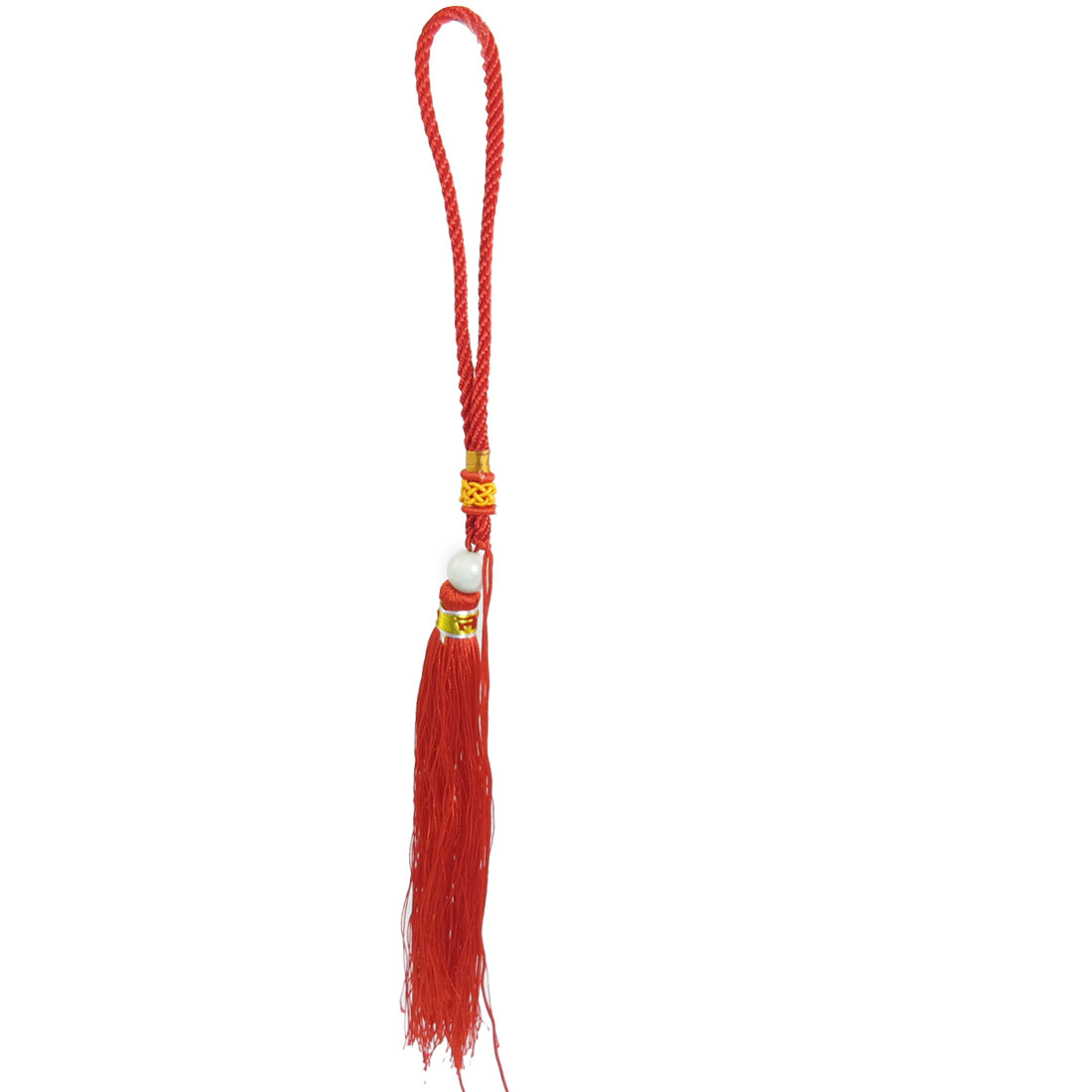 Faux Jade Bead Fringes DIY Wall Bag Car Hanging Knotted Tassel Pendent Red