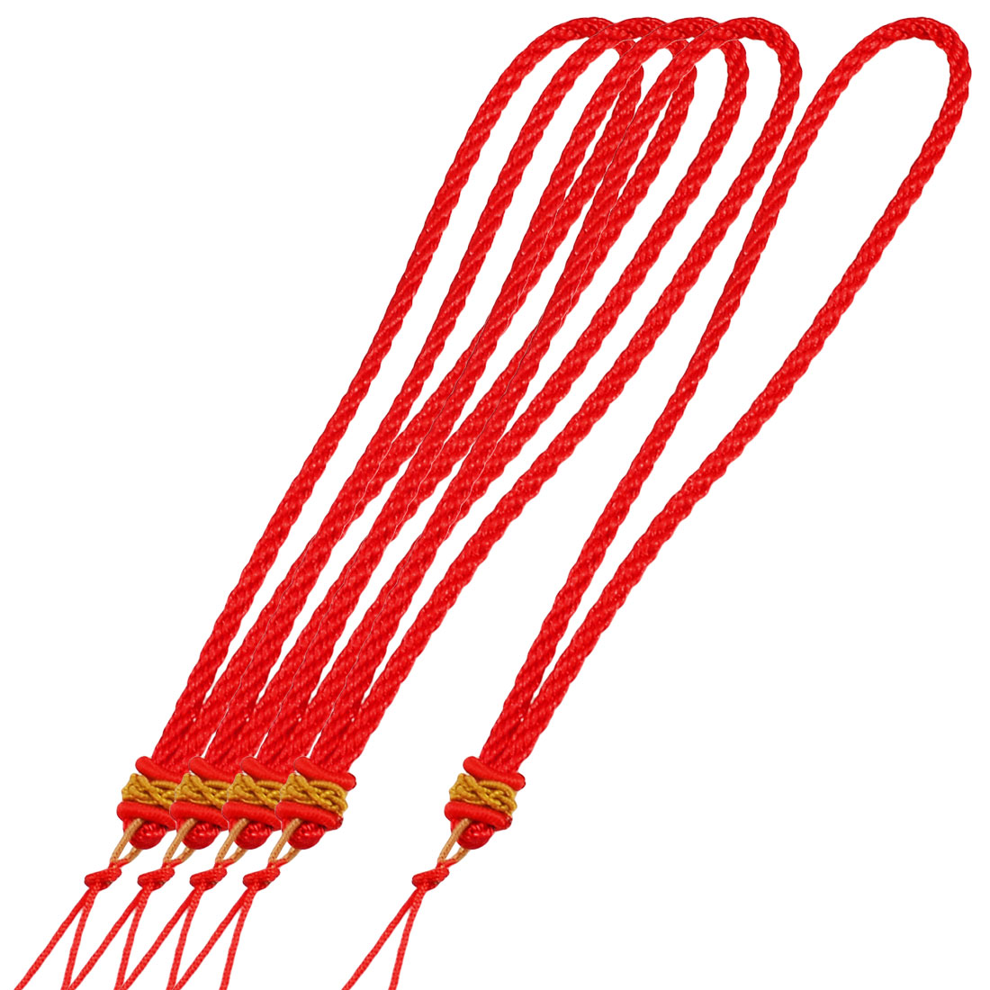 5 Pcs Red Nylon Adjustable Knot Twisted String Handmade Braided Hanging Lanyard