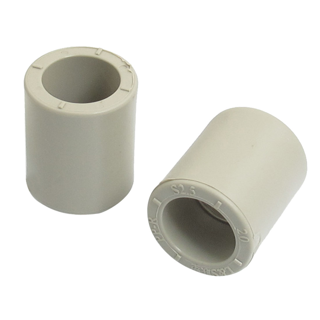 Gray PPR Tube Couplers Straight Pipe Connectors 20mm Diameter 5pcs