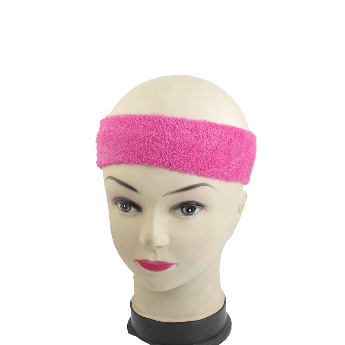 2 Pcs Magenta 34cm Length Stretchy Athletic Sport Headband for Ladies